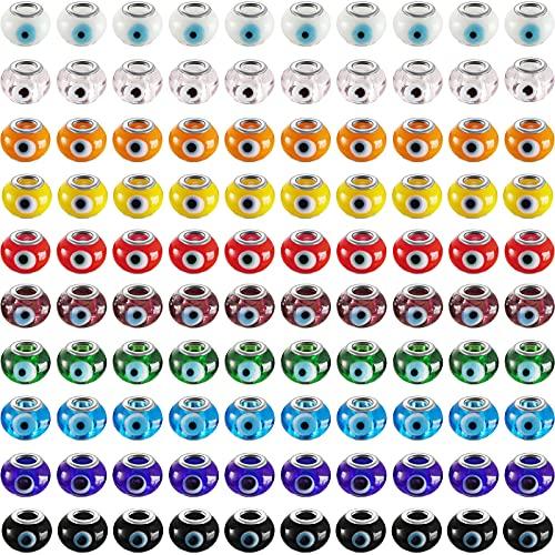 100 Abalorios de Vidrio Surtidos de Mal de Ojo Cuentas de Encantos Artesanales DIY Cuentas Espaciadoras de Agujero Grande Colores Mixtos para Fabricación de Joyas Collar Pulsera
