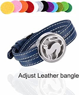 Minicremation Blue Series Adjustable Leather Perfume Bangle Memorial Air Freshener Bracelet Elegant Essential Oil Diffuser Bangle for Love Christmas Gift & Free Refilled Pads & Gift Box (Lovely Cat)
