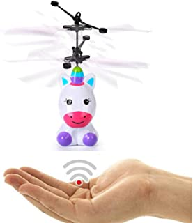 Mrocioa Flying Unicorn Toys Lights-up RC Robot Helicopter, Mini Flying Fairy Toy Outdoor Indoor for Boys and Girls, Infrared Induction