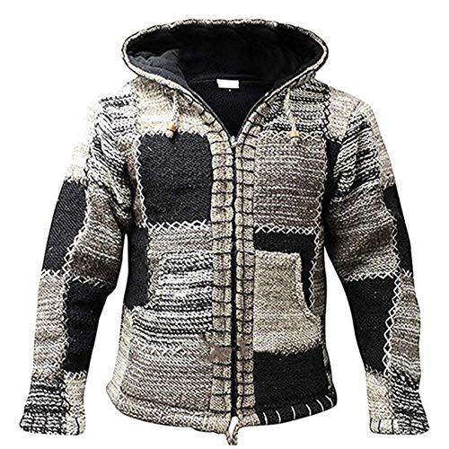 CURT SHARIAH Herren Strickjacke Patch Vintage Festival Bunte Fleece gefüttert Winter warme Jacken