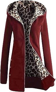 Zulmaliu Womens Zip Up Hoodie, Zipper Fleece Jacket Leopard Print Inside Casual Sweatshirt Coat