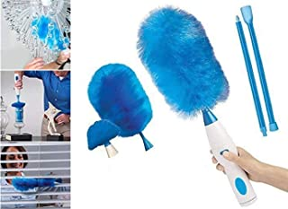 360 ° Hurricane Spin Electric Duster Motorized Dust Feather Duster Cleaning Brush Blue (Size : Battery type (without battery))