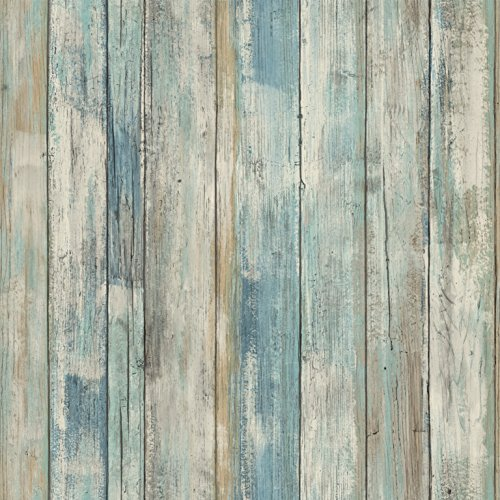 RoomMates - RMK9052WP Distressed Wood Blue Peel and