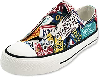 Women's Canvas Sneakers Low Top Lace Up Canvas Shoes Graffiti Hand Painted Fashion Comfortable Easy Matching