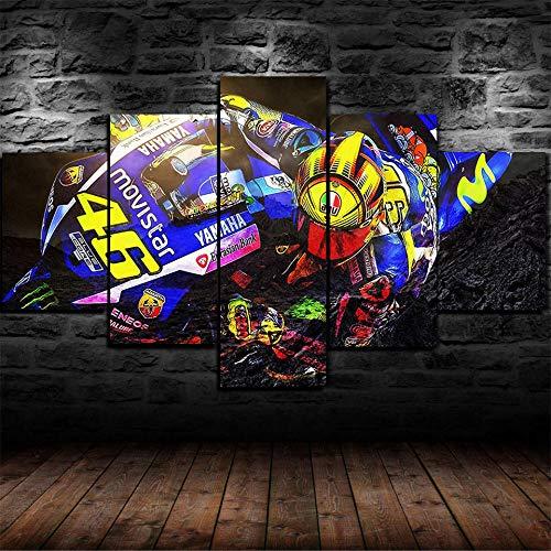 13Tdfc Cuadros Decoracion Salon Modernos 5 Piezas Lienzo Grandes XXL murales Pared hogar Pasillo Decor Abstracto Cuadro de Cuadro de Valentino Rossi MotoGP Racing Enmarcado Innovador Regalo