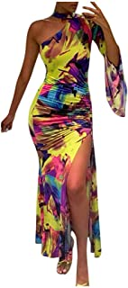 فستان طويل مثير للنساء بأكمام طويلة ورقبة على شكل حرف V مطبوع عليه زهور بكتف واحد وبرقبة على شكل حرف V