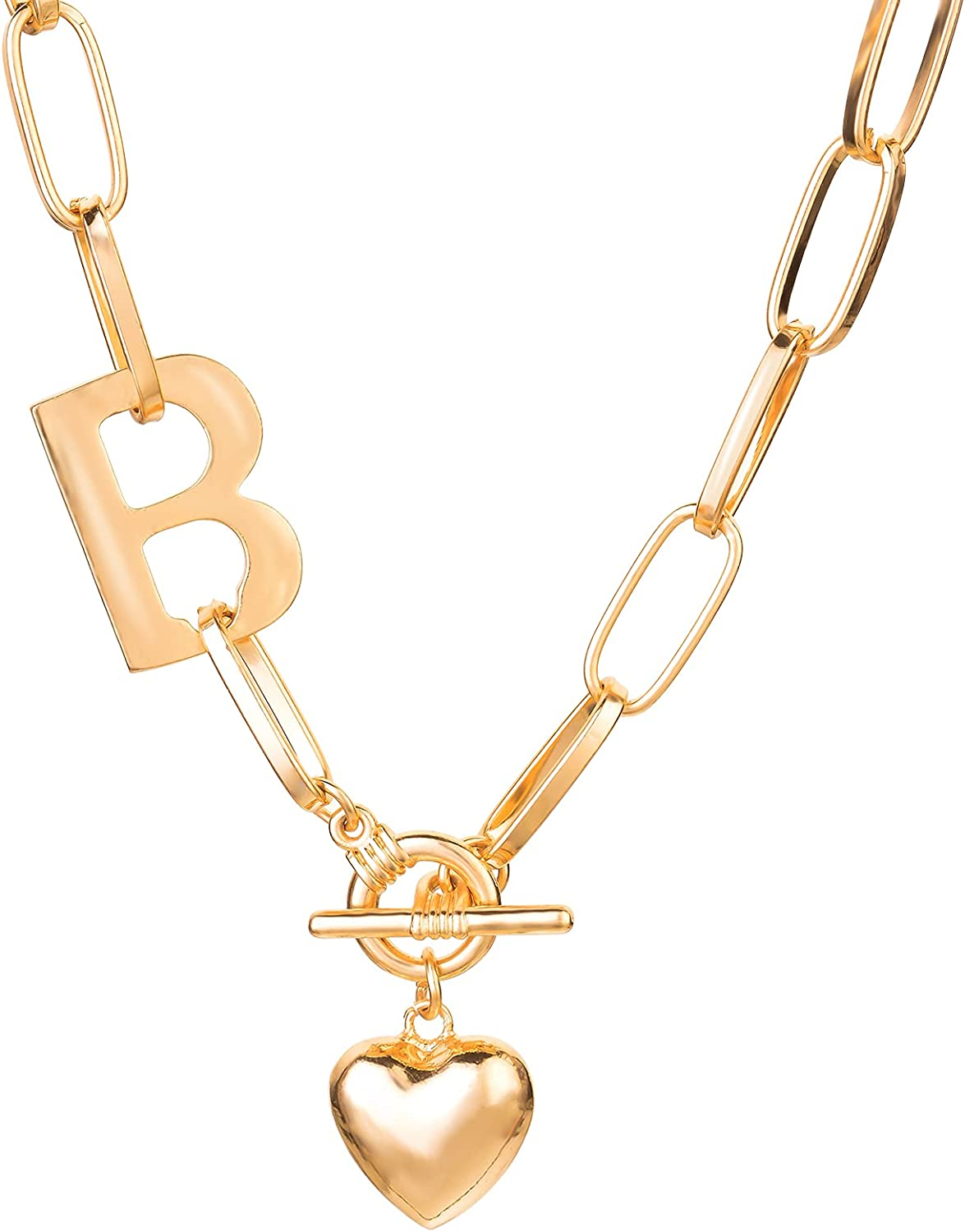 Papasgix Heart Necklaces for Women, 18k Gold Plated Paperclip Chain Necklace with Initial B, Heart Pendant Necklaces with Toggle Clasp, Gifts Jewelry for Women, Girls, Teen