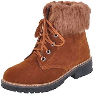 WeiPoot Women's Frosted Lace-Up Closed-Toe Low-Heels Low-Top Boots, EGHXH122986