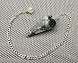 Amazing Gemstone Moss Agate Crystal Pendulum for Divination - Dowsing Pendulum Necklace with Chain and Crystal Ball for Reiki Healing and Crystal Grid Meditation