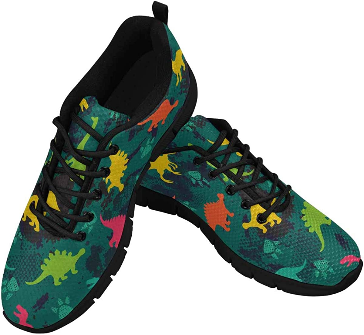 InterestPrint Colorful Cartoon Dinosaurs Women's Lightweight Athletic Casual Gym Sneakers