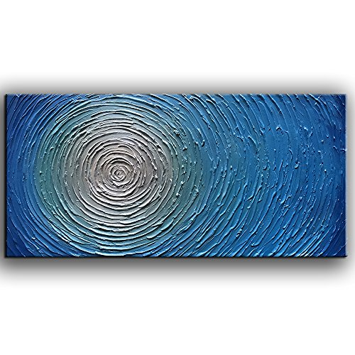 YaSheng Art -Abstract Art Oil Painting on Canvas 3D Metallic Bead Light Blue Texture Pictures Canvas Wall Art Paintings Modern Home Decor Paintings Ready to Hang (24X48 inch)