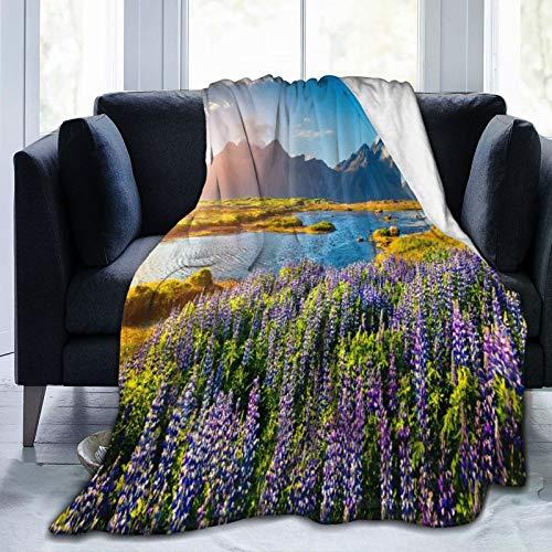 AIMILUX Manta de Franela Suave,Flores Lupino Púrpura Floreciente Costa Islandia Paisaje Naturaleza,Cama de Camping para sofá 127x102cm