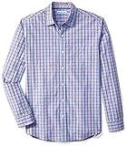 Amazon Essentials Men's Regular-Fit Long-Sleeve Casual Poplin Shirt, Red/Blue Plaid, Medium