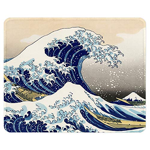 ITNRSIIET Gaming Mouse Pad with Stitched Edges, Premium-Textured Mouse Mat Pad, Non-Slip Rubber Base Mousepad for Laptop, Computer & PC, 10.2×8.3×0.12 inches,Waves