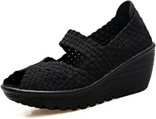 zaragfushfd Hand-Knitted Shake Women's Shoes Low Cut Thick Increase Leisure Shoes Thin Shoes(Black,35/4.5 B(M) US Women)