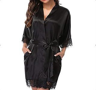 Women's Long Sleeve Sleepwear, Self Tie Mesh Floral Print Summer Loose Nightwear Pajama Dress, Black(XL)