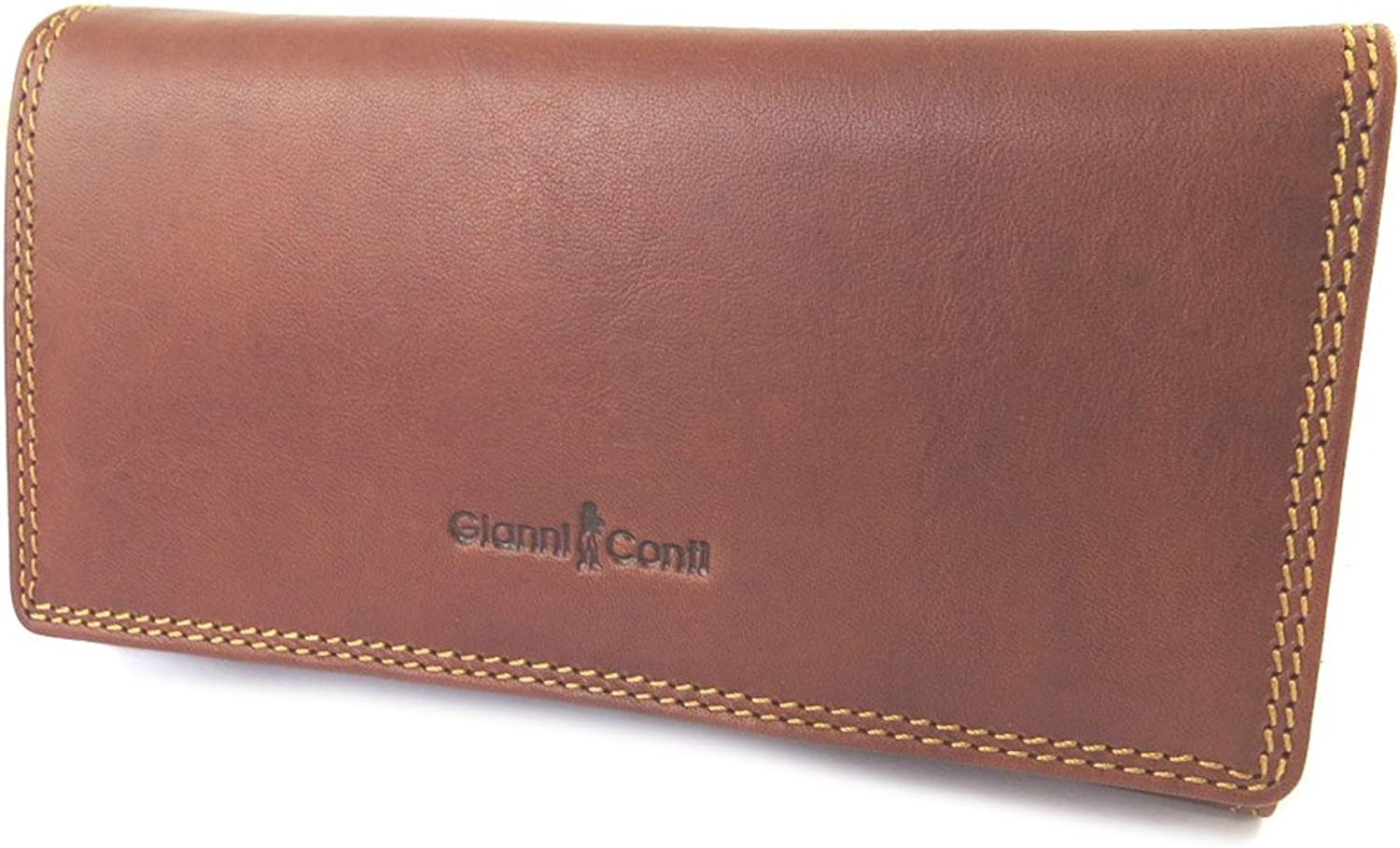 Gianni Conti [N8018]  Leather wallet + checkbook holder 'Gianni Conti' black  17.5x9.5x4 cm (6.89''x3.74''x1.57'').