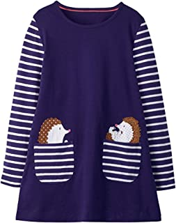 VIKITA Toddler Girl Animal Stripe Cotton Dress Baby Girls Casual Dresses 2-8 Years