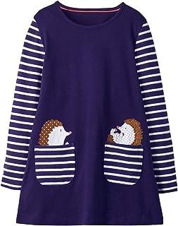 VIKITA Mädchen Baumwolle Langarm Streifen Tiere T-Shirt Kleid EINWEG Gr.80-128