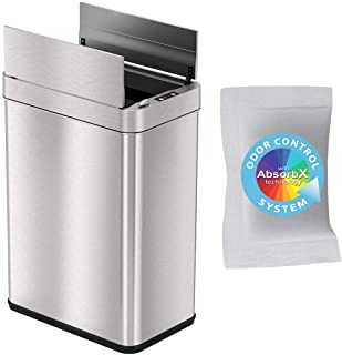 iTouchless with AbsorbX Odor Filter and Pet-Proof Lid, Stainless Steel Kitchen Waste Bin Prevents Dogs & Cats Getting Wing...