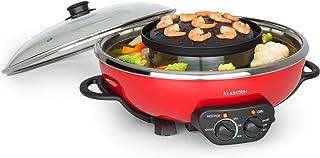 KLARSTEIN Szechuan - Appareil de cuisson 2 en 1, Hot pot, Plaque de cuisson, Gril de 22 cm de diamètre, Revêtement anti ad...