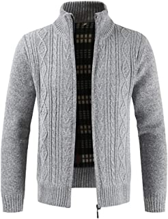 Furpazven Mens Cardigan Sweater Zipper Stand Collar Knitwear Jumper Fleece Lined Long Sleeve Winter Coat