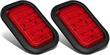 Partsam 2X 12 LED Rectangular Truck Trailer Stop Turn Tail Lights Red 5