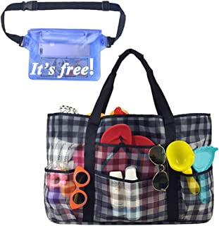 Extra Large Mesh Beach Bag, Toy Tote Bag with Multiple Pockets (Checkred)