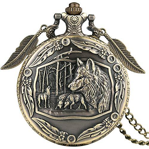 Orologio da taschino classico al quarzo, in bronzo, da uomo, con delicato motivo di lupi, orologio da tasca per gli amici, durevole e sottile catena p