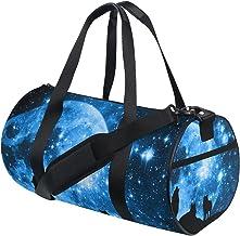 FANTAZIO Gym Duffel Bag Howling Wolves met Blue Starred Sky Moonlight Mens Gym Duffel Bag