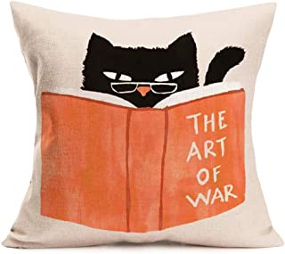 Fukeen Lovely Animal Throw Pillow Cases Orange & Black Cat Reading Book The Art of War Quote Pillow Cover Cotton Linen Squ...