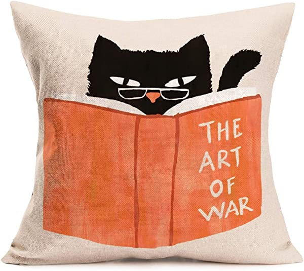 Asminifor Animal Pillow Covers Abstract Cute Black Cat Reading The Art Of War Book Decorative Throw Pillow Covers Cotton Linen Square Pillowcase For Home Sofa Cushion Cover 18 X 18 Cat Red Book