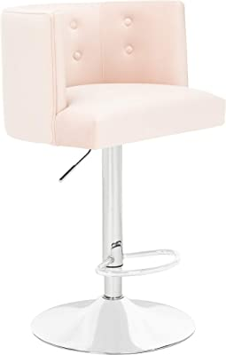 """Safavieh Couture Zayna Glam Light Pink Velvet 26.8""""-35"""" Adjustable Bar Stool Barstool,"""