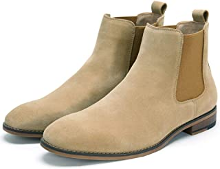 Chelsea Slip-on Sude Boots for Men Genuine Leather Waterproof Casual Oxford Dress Ankle Bootie
