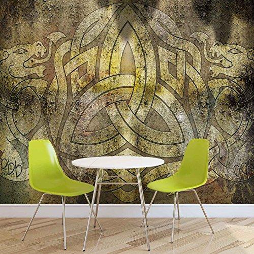 Keltisches Muster Rustikale Textur - Forwall - Fototapete - Tapete - Fotomural - Mural Wandbild - (2950WM) - XXL - 368cm x 254cm - Papier (KEIN VLIES) - 4 Pieces