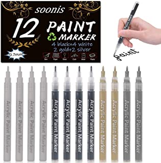 Paquete de 12 rotuladores de pintura acrílica (4 negros 4 blancos 2 dorados 2 plateados), 0,7 mm, para pintar, manualidades, suministros para marcar permanentemente la taza de cerámica y vidrio
