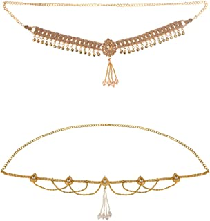 Efulgenz Indian Bollywood Vintage Gold Plated Tassel Waist Belt Belly Chain Kamarbandh Bridal 2 Sets of Jewelry