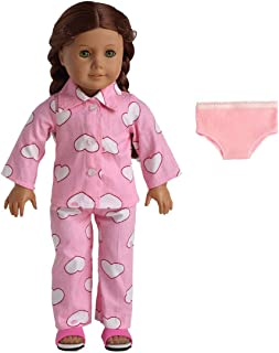 sweet dolly Doll Clothes Pink Sleepwear Pajamas Fits 18 Inches American Girl Dolls(Top Pants Underwear)