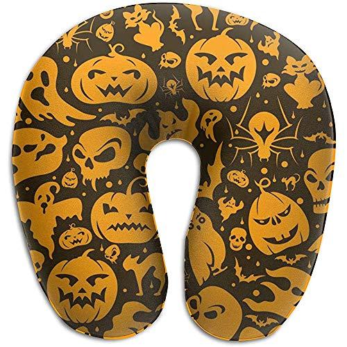 Reiskussen, Halloween, pompoen Seamless patroon, U-vorm, hoofdkussen, reiskussen, memory-schuim, wasbaar, voor thuis, woonkamer, decoratie