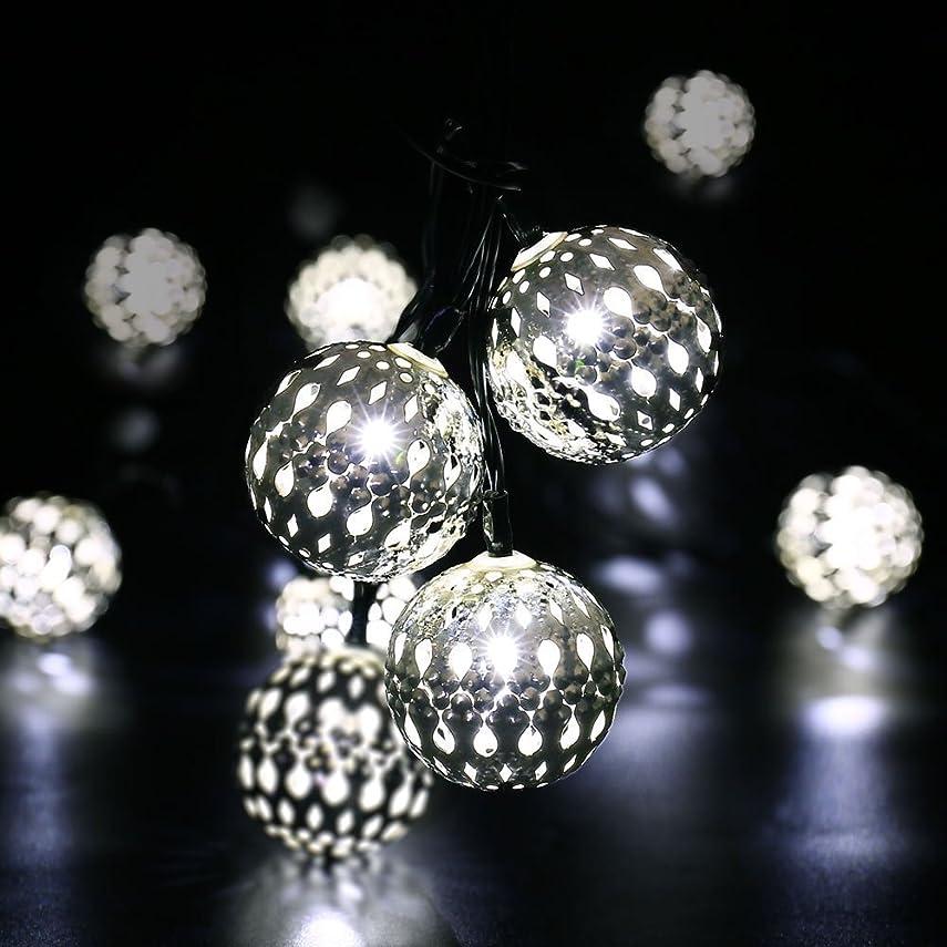ウナギイル死にかけているYalufa イルミネーションライト 20LED モロッコ風 ボール 発光色 ホワイト ストリングライト ソーラー充電式 光センサー内蔵 自動点灯 2発光モード 防水防雨 クリスマス 飾り