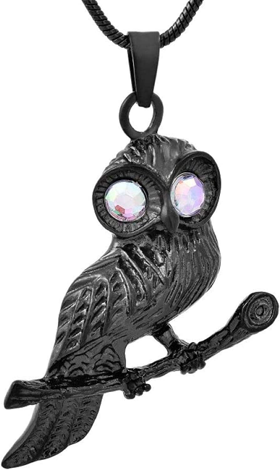 Ashes Chain Cremation Memorial Necklace for Ashes Cremation Jewelry Color Crystal Eye Black Owl Pendant Locket Heart Memorial Ash Holder Necklaces for Pet Human