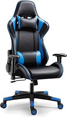 Swarmda ゲーミングチェア オフィスチェア パソコンチェア ゲーム用チェア 165度リクライニング ハイバック ヘッドレスト ランバーサポート 可動ひじ掛け付き 高さ調整機能 マッサージ機能腰痛対策「ブルー」