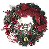 You's Auto Christmas Decorations, Xmas Wreath Front Door 40cm/15.7inch Garland Rattan Artificial Door Wreath for Halloween Home Decor Ornaments Christmas Thanksgiving Hanging Decoration (Style D)