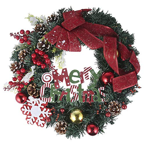 40CM Weihnachtskranz Deko Künstliche Weihnachtskränze Christmas Hanging Decoration mit Tannenzapfen Bowknot Beeren Weihnachtsball Künstlicher Kranz Weihnachten für Türen Party Ostern Thanksgiving Day