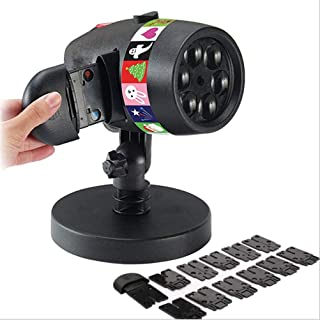 Led Outdoor Waterproof Christmas Projection Lamp, Halloween Decorative Lights, 12 Film Festival Projection Family Party Sp...