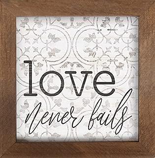 P. Graham Dunn Love Never Fails Quatrefoil Clover 7 x 7 Inch Pine Wood Framed Wall Art Plaque
