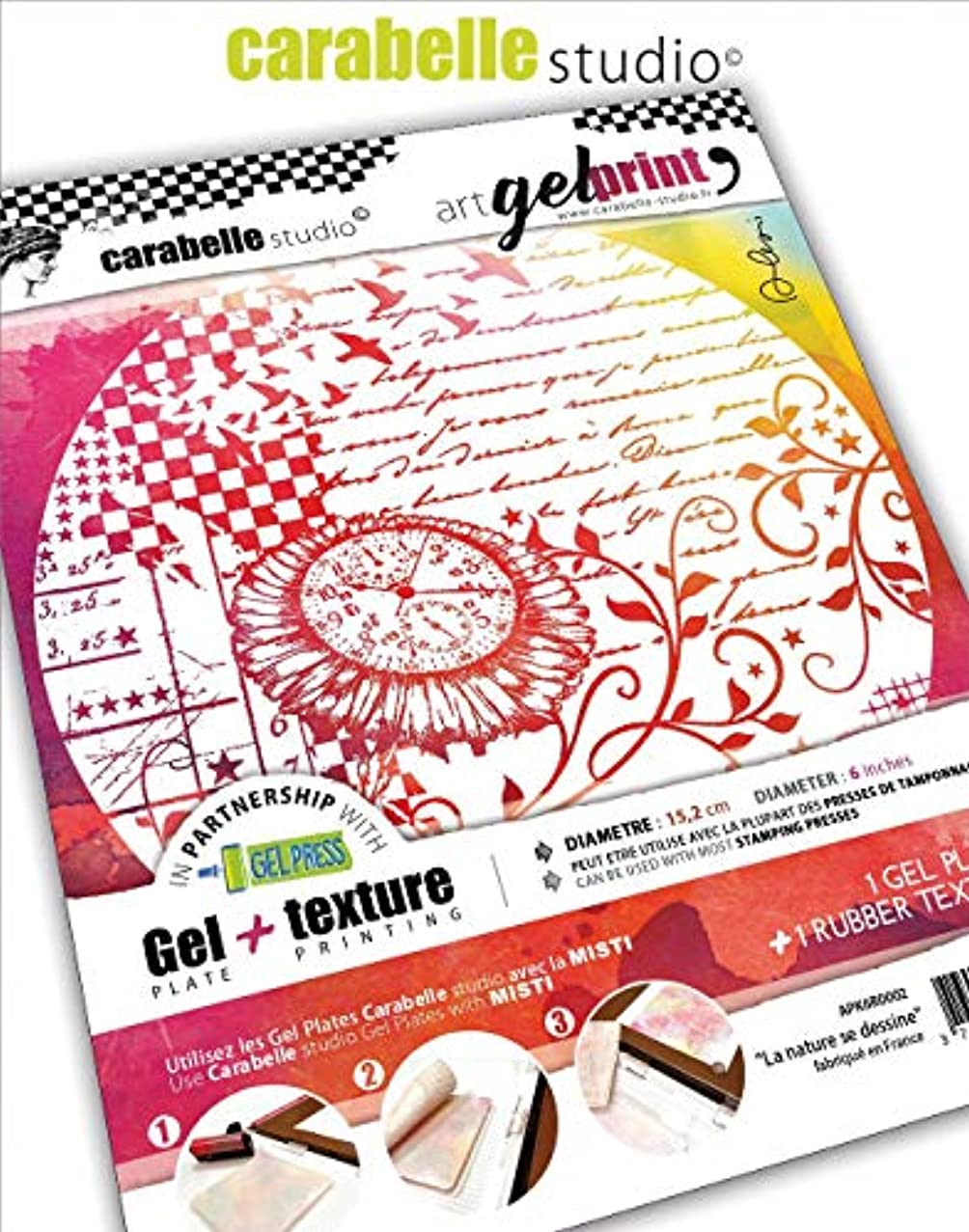 Carabelle Studio Gel Plate & Round Rubber Texture Plate Kit-Nature Is Emerging
