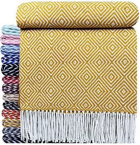 STTS International Baumwolldecke sehr weiches Plaid Wohndecke Kuscheldecke in versch. Farben Baumwolle Marbella Gelb-V