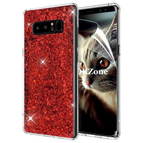 Samsung Galaxy Note 8ケース [HDスクリーンフィルム付き] OKZone キラキラ 目立つデザイン TPU シリコン カバー 耐衝撃ボディ 全面保護 落下防止 ファッション Samsung Galaxy Note 8 適用 (赤)