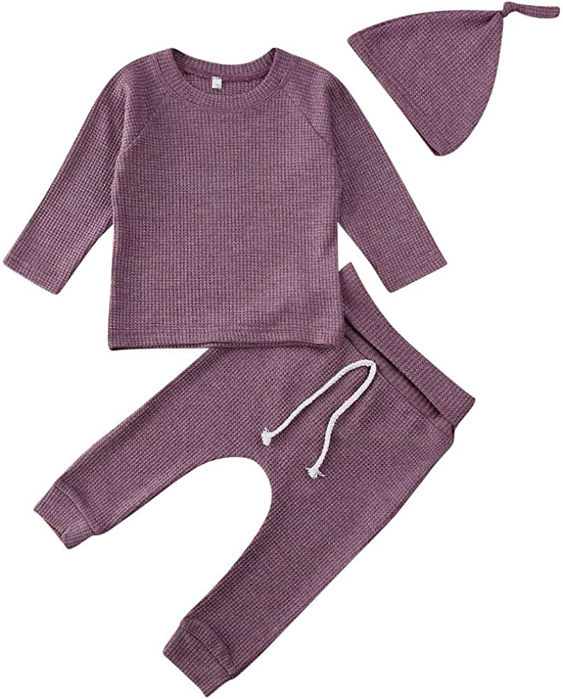 Newborn Baby Boys Girls Waffle Knit Cotton Homewear Outfit with Hat Long Sleeve Top+Pants Set